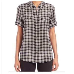 Equipment Femme Plaid Silk Button Up Short Sleeve